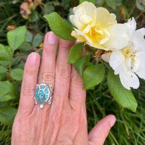 VTG Zuni Silver Turquoise Turtle Ring